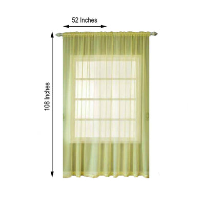 "2 Pack | 52""x108"" Yellow Sheer Organza Curtains With Rod Pocket Window Treatment Panels"