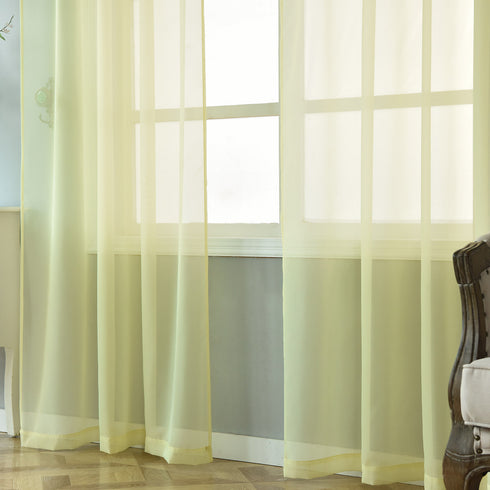 "Pack of 2 - 52""x108"" Yellow Sheer Organza Curtains With Rod Pocket Window Treatment Panels"