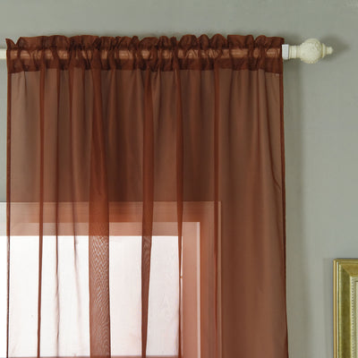 "52""x 64"" Chocolate Pack of 2 Sheer Organza with Rod Pocket Window Treatment Curtain Panels"