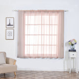 "2 Pack | 52""x64"" Sheer Organza Curtains With Rod Pocket Window Treatment Panels - Rose Gold 
