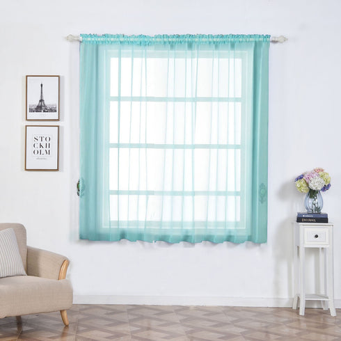 "2 Pack | 52""x64"" Baby Blue Sheer Organza Curtains With Rod Pocket Window Treatment Panels"