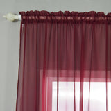 "52""x 64"" Burgundy Pack of 2 Sheer Organza with Rod Pocket Window Treatment Curtain Panels"