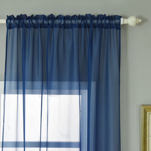 "52""x 64"" Navy Blue Pack of 2 Sheer Organza with Rod Pocket Window Treatment Curtain Panels"