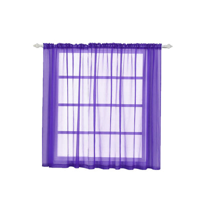 "2 Pack | 52""x64"" Purple Sheer Organza Curtains With Rod Pocket Window Treatment Panels"