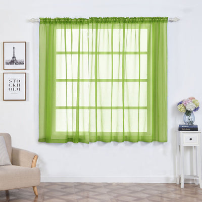 "2 Pack | 52""x64"" Sage Green Sheer Organza Curtains With Rod Pocket Window Treatment Panels"