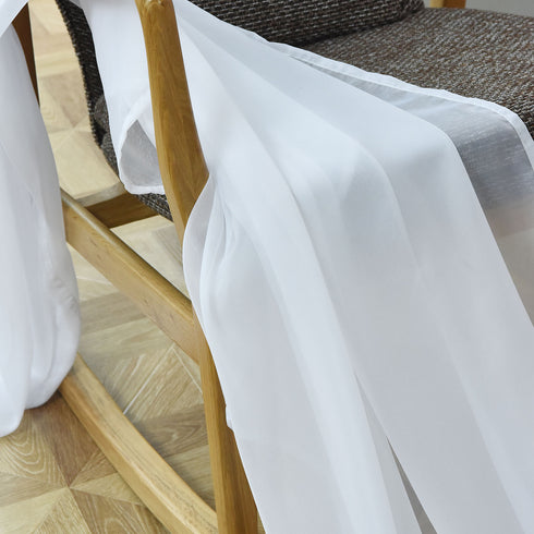 "52""x 64"" White Pack of 2 Sheer Organza with Rod Pocket Window Treatment Curtain Panels"
