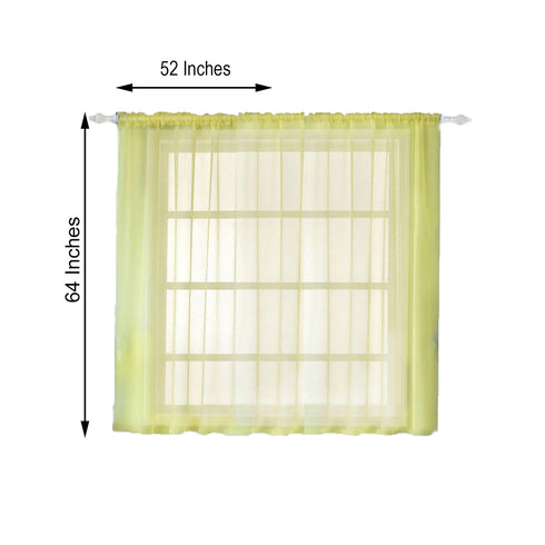 "Pack of 2 - 52""x64"" Yellow Sheer Organza Curtains With Rod Pocket Window Treatment Panels"