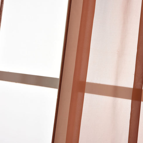 "52""x 84"" Chocolate Pack of 2 Sheer Organza with Rod Pocket Window Treatment Curtain Panels"
