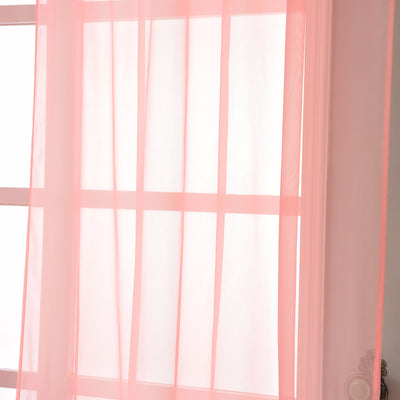 "52""x 84"" Rose Quartz Pack of 2 Sheer Organza with Rod Pocket Window Treatment Curtain Panels"