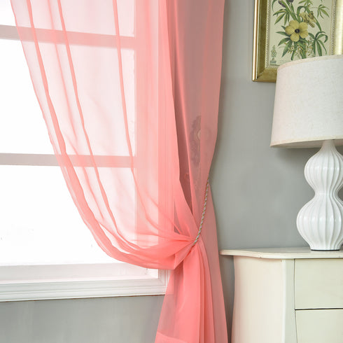 "Pack of 2 - 52""x84"" Rose Quartz Sheer Organza Curtains With Rod Pocket Window Treatment Panels"