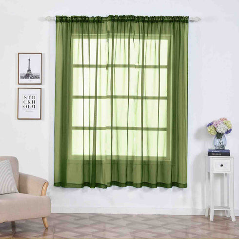 "2 Pack | 52""x84"" Willow Green Sheer Organza Curtains With Rod Pocket Window Treatment Panels"
