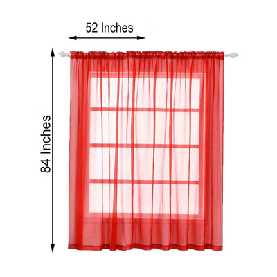 "2 Pack | 52""x84"" Coral Sheer Organza Curtains With Rod Pocket Window Treatment Panels"