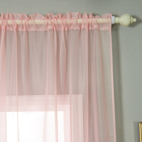 "52""x 84""  Pack of 2 Sheer Organza with Rod Pocket Window Treatment Curtain Panels- Blush"