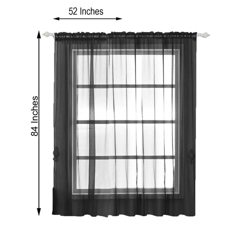"2 Pack | 52""x84"" Black Organza Grommet Sheer Curtains Panels"