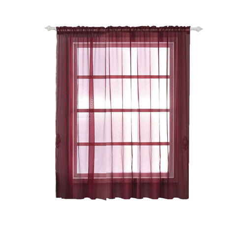 "2 Pack | 52""x84"" Burgundy Organza Grommet Sheer Curtains Panels"
