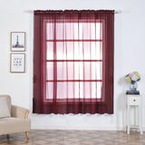 "2 Pack | 52""x84"" Burgundy Sheer Organza Curtains With Rod Pocket Window Treatment Panels"