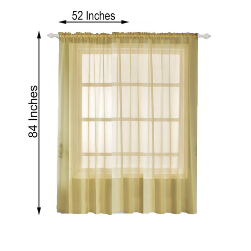 "Pack of 2 - 52""x84"" Champagne Organza Grommet Sheer Curtains Panels"
