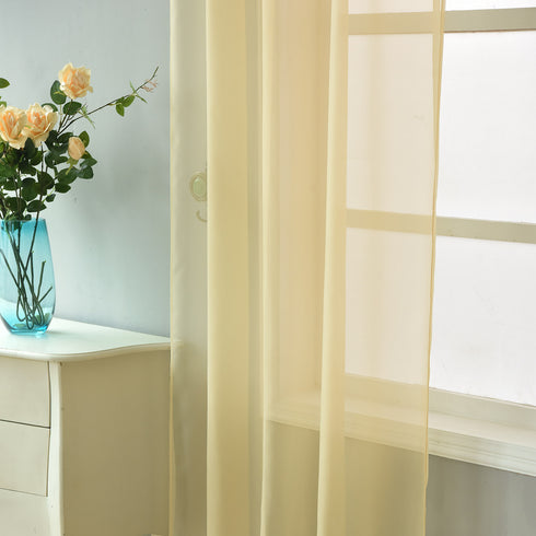 "52""x 84"" Champagne Pack of 2 Sheer Organza with Rod Pocket Window Treatment Curtain Panels"