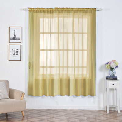"2 Pack | 52""x84"" Champagne Organza Grommet Sheer Curtains Panels"