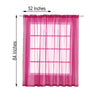 "2 Pack | 52""x84"" Fushia Organza Sheer Curtain Panels With Grommets Window Treatment Panels"