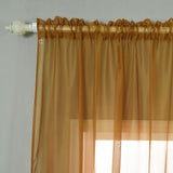 "52""x 84"" Gold Pack of 2 Sheer Organza with Rod Pocket Window Treatment Curtain Panels"