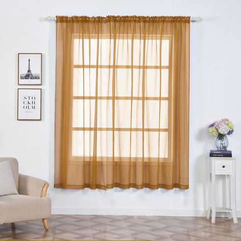 "2 Pack | 52""x84"" Gold Sheer Organza Curtains With Rod Pocket Window Treatment Panels"