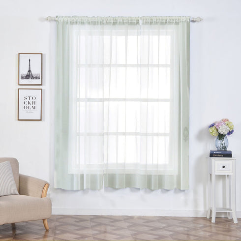 "2 Pack | 52""x84"" Ivory Grommet Sheer Curtains With Rod Pocket Window Treatment Panels"