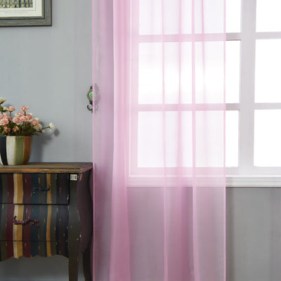 "52""x 84"" Pink Pack of 2 Sheer Organza with Rod Pocket Window Treatment Curtain Panels"