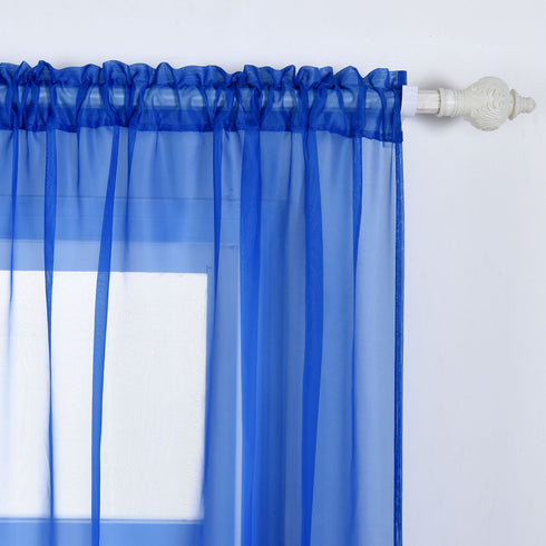 "52""x 84"" Royal Blue Pack of 2 Sheer Organza with Rod Pocket Window Treatment Curtain Panels"