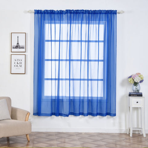 "2 Pack | 52""x84"" Royal Blue Sheer Organza Curtains With Rod Pocket Window Treatment Panels"