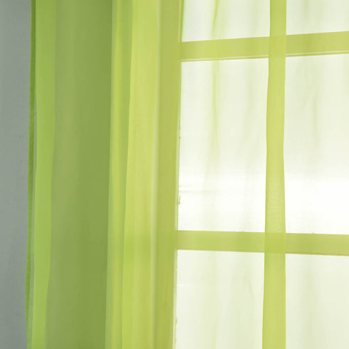 "Pack of 2 - 52""x84"" Sage Green Sheer Organza Curtains With Rod Pocket Window Treatment Panels"