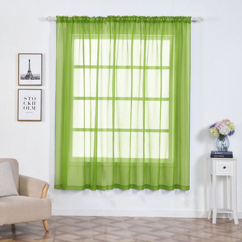 52x 84 Sage Green Pack Of 2 Sheer Organza With Rod Pocket Window