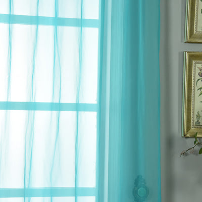 "52""x 84"" Turquoise Pack of 2 Sheer Organza with Rod Pocket Window Treatment Curtain Panels"
