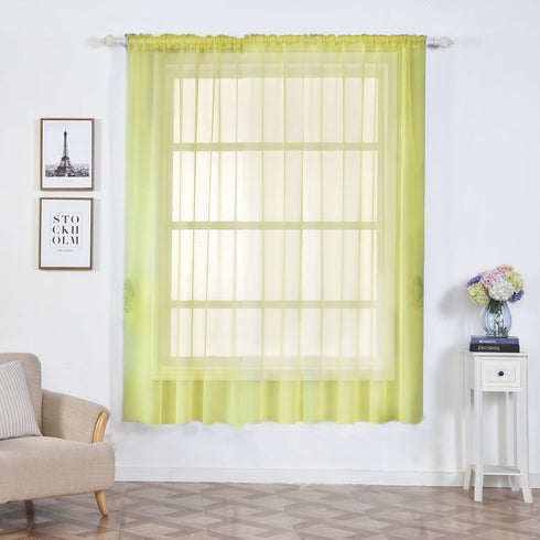 "2 Pack | 52""x84"" Yellow Sheer Organza Curtains With Rod Pocket Window Treatment Panels"