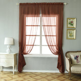 "52""x 96"" Chocolate Pack of 2 Sheer Organza with Rod Pocket Window Treatment Curtain Panels"