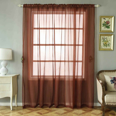 "2 Pack | 52""x96"" Chocolate Sheer Organza Curtains With Rod Pocket Window Treatment Panels"