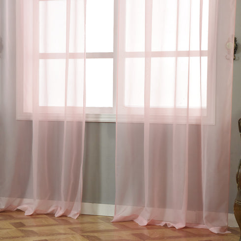 "Pack of 2 - 52""x96"" Sheer Organza Curtains With Rod Pocket Window Treatment Panels - Rose Gold 