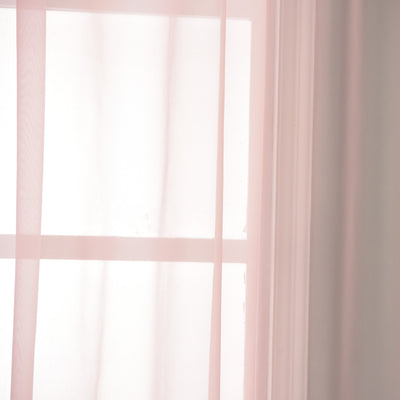 "52""x 96""  Pack of 2 Sheer Organza with Rod Pocket Window Treatment Curtain Panels- Blush"
