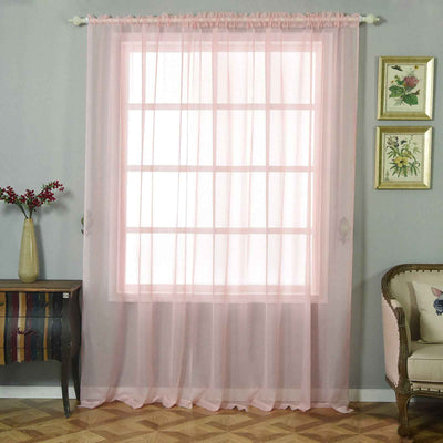 "2 Pack | 52""x96"" Sheer Organza Curtains With Rod Pocket Window Treatment Panels - Rose Gold 