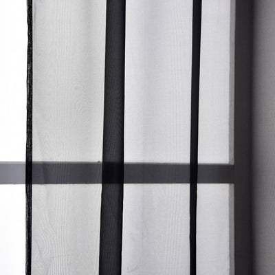 "52""x 96"" Black Pack of 2 Sheer Organza with Rod Pocket Window Treatment Curtain Panels"
