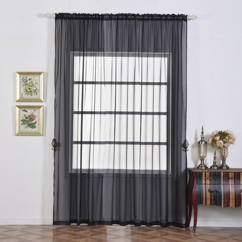 "2 Pack | 52""x96"" Black Sheer Organza Curtains With Rod Pocket Window Treatment Panels"