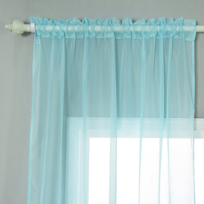 "52""x 96"" Blue Pack of 2 Sheer Organza with Rod Pocket Window Treatment Curtain Panels"
