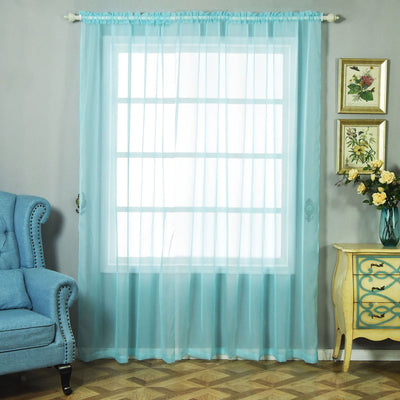 "2 Pack | 52""x96"" Baby Blue Sheer Organza Curtains With Rod Pocket Window Treatment Panels"