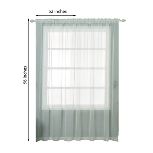"2 Pack | 52""x96"" Ivory Sheer Organza Curtains With Rod Pocket Window Treatment Panels"