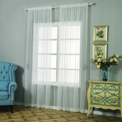 "52""x 96"" Ivory Pack of 2 Sheer Organza with Rod Pocket Window Treatment Curtain Panels"