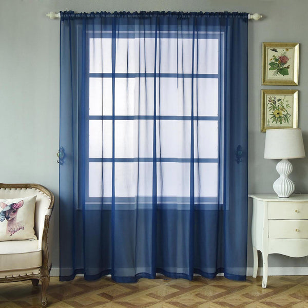 "Pack of 2 - 52""x96"" Navy Blue Sheer Organza Curtains With Rod Pocket Window Treatment Panels"