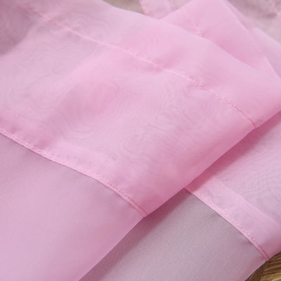 "52""x 96"" Pink Pack of 2 Sheer Organza with Rod Pocket Window Treatment Curtain Panels"