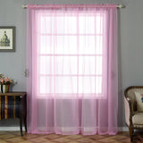 "2 Pack | 52""x96"" Pink Sheer Organza Curtains With Rod Pocket Window Treatment Panels"