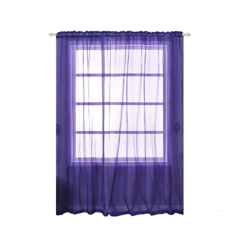"2 Pack | 52""x96"" Purple Sheer Organza Curtains With Rod Pocket Window Treatment Panels"