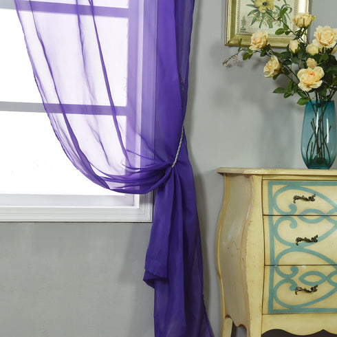 "52""x 96"" Purple Pack of 2 Sheer Organza with Rod Pocket Window Treatment Curtain Panels"